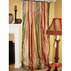 4 Custom Red Green silk Drapery Panels INTERLINED