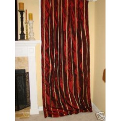 4 Dark Red Gold taffeta silk Drapery Panels INTERLINED