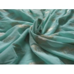 Polyester georgette fabric with metalic silver & gold jacquard~Sea Green  colour