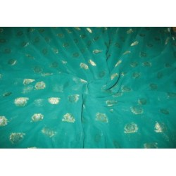 Polyester georgette fabric with metalic silver & gold jacquard~Sea Blue colour