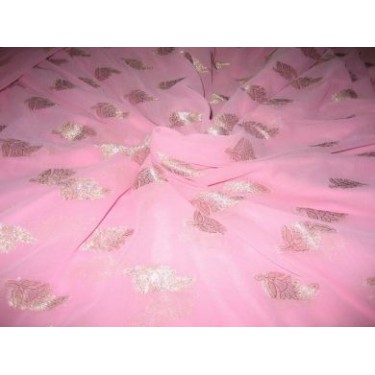 Polyester georgette fabric with metalic silver & gold jacquard~Baby Pink colour