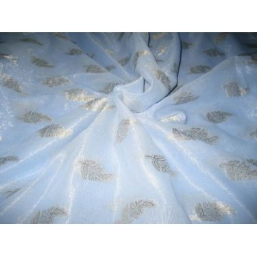 Polyester georgette fabric with metalic silver & gold jacquard~Powder Blue colour