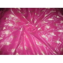 Polyester georgette fabric with metalic silver & gold jacquard~Shimmering Pink colour
