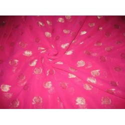 Polyester georgette fabric with metalic silver & gold jacquard~Hot Pink colour