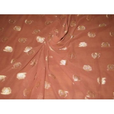 Polyester georgette fabric with metalic silver & gold jacquard~Chocolate Brown colour