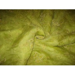 100 % silk organza fabric ~beadwork.Kiwi Green Colour