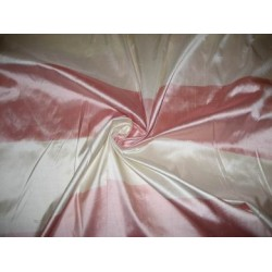 """Silk dupioni silk 54"""" Pink & Ivory colour Stripes sold by the yard"""