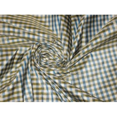 """SILK TAFFETA FABRIC Navy blue,green and white colour plaid 54"""" wide sold by the yard"""