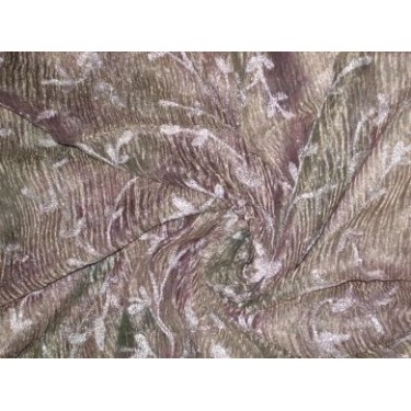 """36 INCHES WIDE~ CRINKLED""""[crushed]sheer silk mettalic tissue organza fabric 36"""" width~Floral embroidery"""