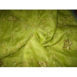 "100 % silk organza fabric 44"" embroidered Kiwi Green Colour"