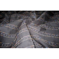 Multi Colour Embroidery On black Cotton Organdy~Width 44
