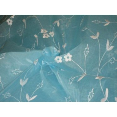 100 % Cotton organdy fabric embroidered~Sky Blue colour w/white machine embroidered