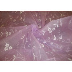 100 % Cotton organdy fabric embroidered~Lavender colour w/white machine embroidered