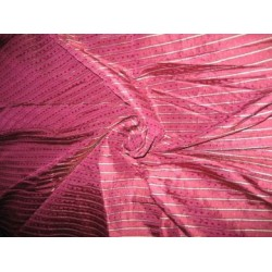 """Brinjal Purple colour silk dupioni with Dobby Stripe~ 54"""" wide sold by the yard"""