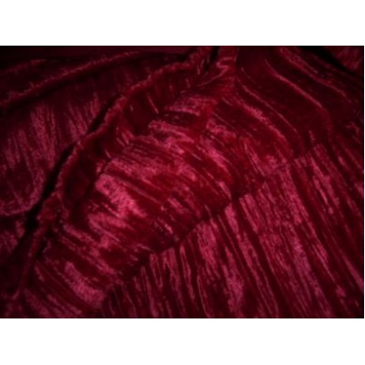 Crushed Velvet Fabric Red Colour