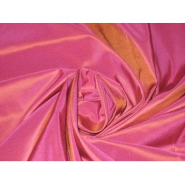 """SILK TAFFETA FABRIC ~Hot pink with gold shot 54"""" wide sold by the yard"""