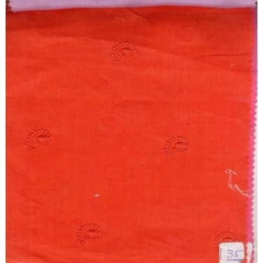 orange/ red linen  embroidered-paisley