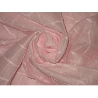 100 % Cotton organdy fabric light pink colour with chocolate pintucks