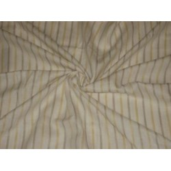 Yellow Beige & White colour horizontal stripe running lengthwise~Chambray Linen~Width 58