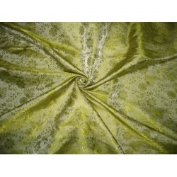 Silk Brocade Fabric Apple Green color 44""