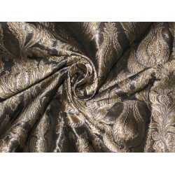 Heavy Silk Brocade Fabric Black,Metallic Gold & Grey