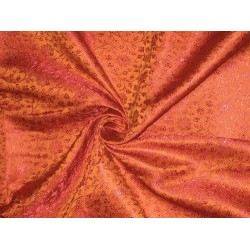 Silk Brocade Fabric Flaming Rust & Rusty Red BRO85[4]