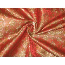SILK BROCADE FABRIC Reddish Orange,Green & Gold 44""