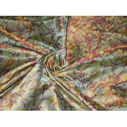 Silk Brocade fabric Blue,Yellow & Red Color