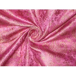 SILK BROCADE FABRIC Hot Pink & Gold 44""