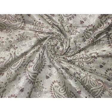 Pure SILK BROCADE FABRIC Grey,Dark Brown & Gold 44""