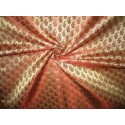 Pure Silk Brocade Fabric 3 colours: Gold w/pink paisleys,gold w/rust OR Pink