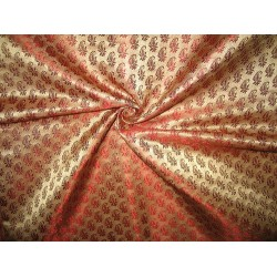Silk Brocade Fabric 3 colours: Gold w/pink paisleys,gold w/rust OR Pink