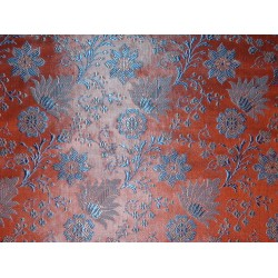 SILK BROCADE FABRIC Orange & Blue 44""