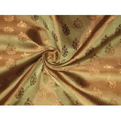 """Silk brocade fabric Olive Green & Gold color 44"""""""