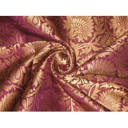 Heavy Silk Brocade Fabric Purple & Antique Gold