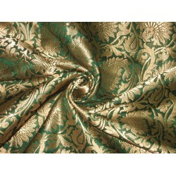 Heavy Silk Brocade Fabric Green & Antique Gold