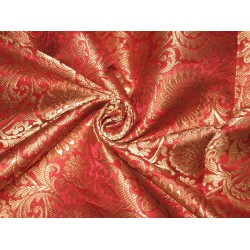 Heavy Silk Brocade Fabric Red & Antique Gold