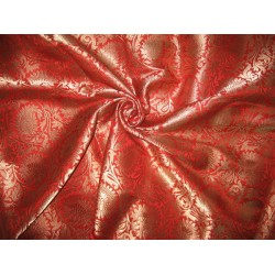 Heavy Silk Brocade Fabric Red & Antique Gold   *