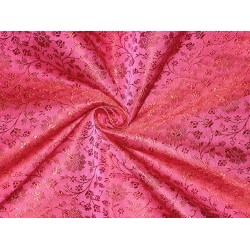 Silk Brocade Fabric Hot Pink & Red 44""
