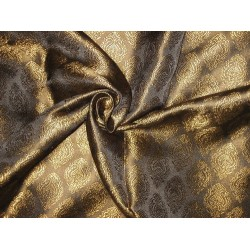Silk Brocade Fabric Blackish Brown & Gold 44""