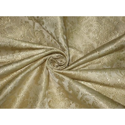 Silk Brocade Fabric Light Champagne Gold Color 44
