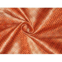 SILK BROCADE FABRIC Gold,Orange & Brown 44""