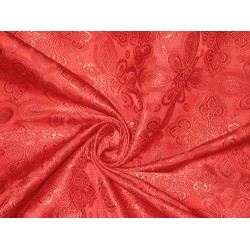 Silk Brocade Vestment Fabric Pretty Red color