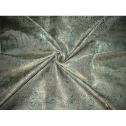Silk Brocade fabric Sea Green & Metallic Gold 44""