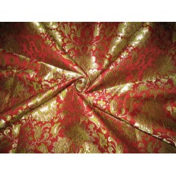 Heavy Silk Brocade Fabric Green,Wine & Gold