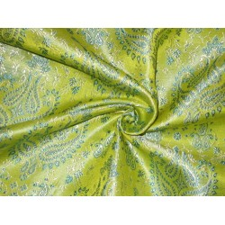 SILK BROCADE FABRIC Lime Green,Blue & Cream