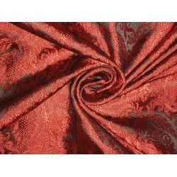 Silk Brocade fabric Black & Red Color 44""