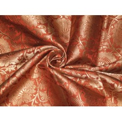 Heavy Silk Brocade Fabric Rust & Metallic Gold