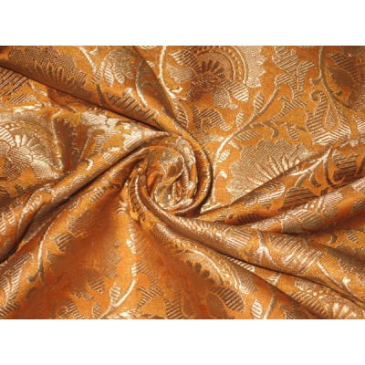 Heavy Silk Brocade Fabric Mango amp Metallic Gold