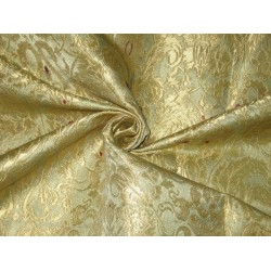Heavy Silk Brocade Fabric Dull Gold,Red & Gold